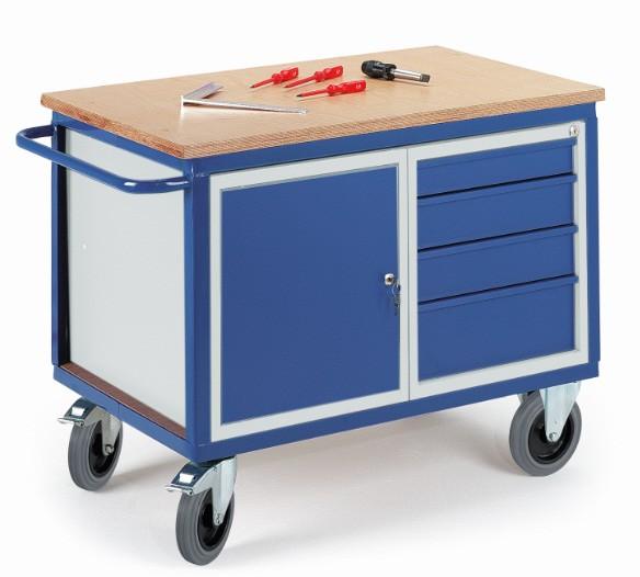ROLLCART 07-4307 Werkstattwagen mit Stahlschrank und Schubladen