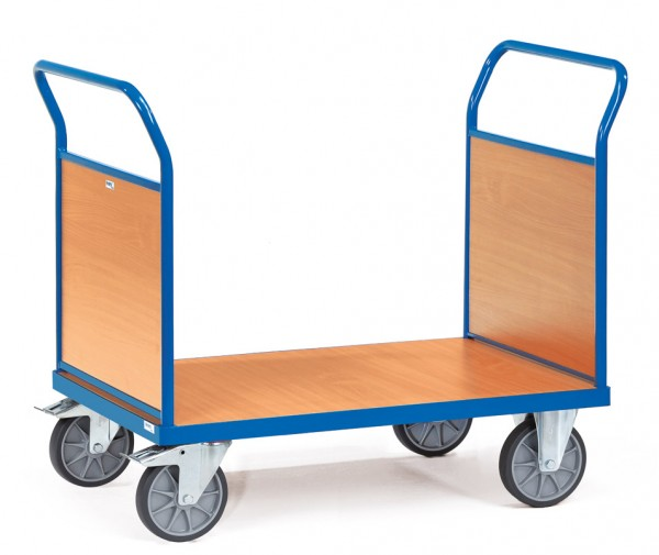 Fetra Doppel-Stirnwandwagen mit Holzplattform bis 600 kg