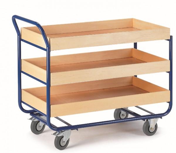 ROLLCART Tischwagen mit drei Ladeflächen mit 80 mm Rand