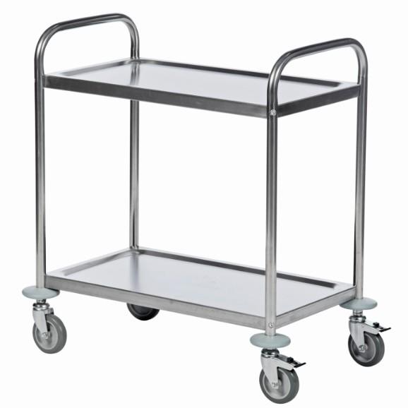 ROLLCART Edelstahl-Tischwagen zwei Etagen, 100 kg Tragkraft