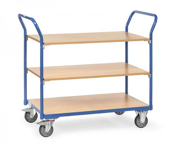 Fetra Tischwagen mit drei Holzplattformen 200 kg