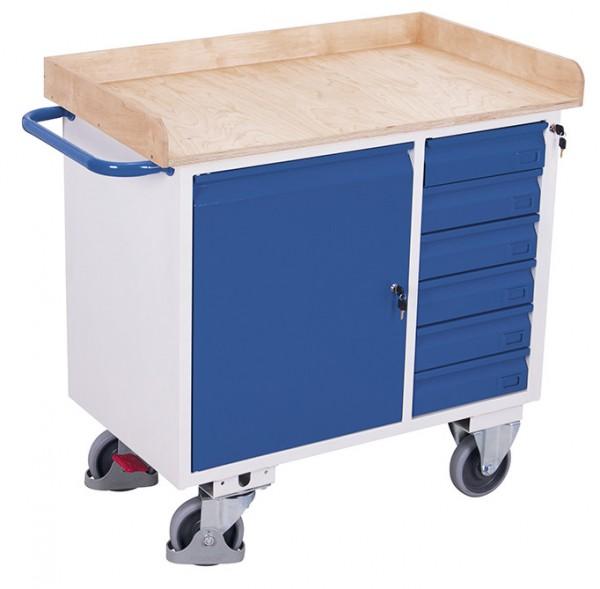 VARIOfit sw-985.003 Werkstattwagen mit sechs Schubladen und Rand, EasySTOP