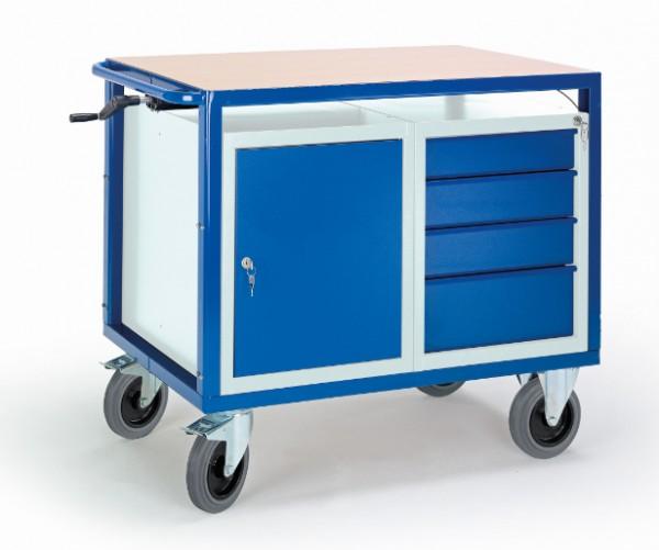 ROLLCART 07-4307/H Höhenverstellbarer Tischwagen mit Schrank und Schubladen