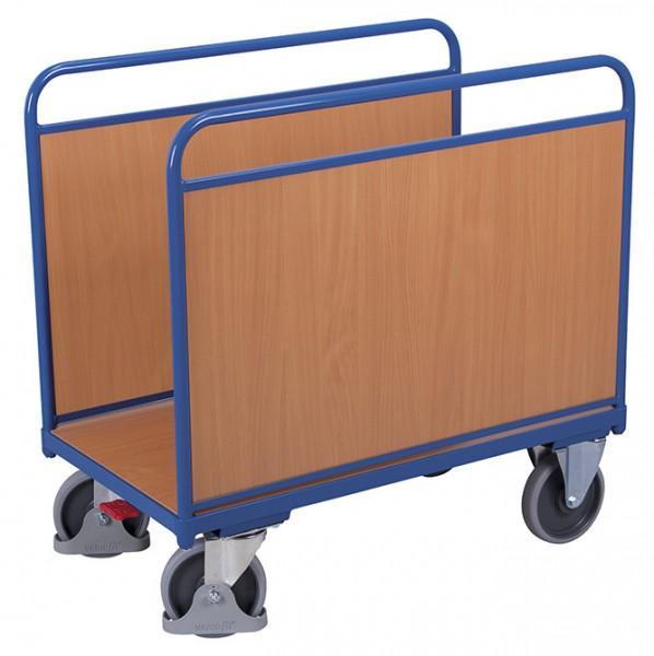 VARIOfit Seitenbügelwagen mit Holzwänden, Baukasten-System, EasySTOP