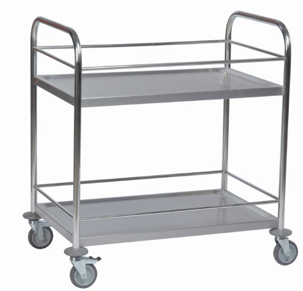 ROLLCART 62-3220 Edelstahl-Tischwagen zwei Etagen, Geländer