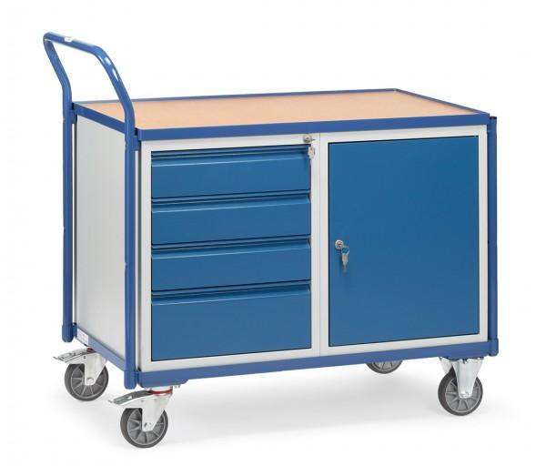 Fetra 2635 leichter Werkstattwagen mit Stahlschrank und Schubladen, 300 kg