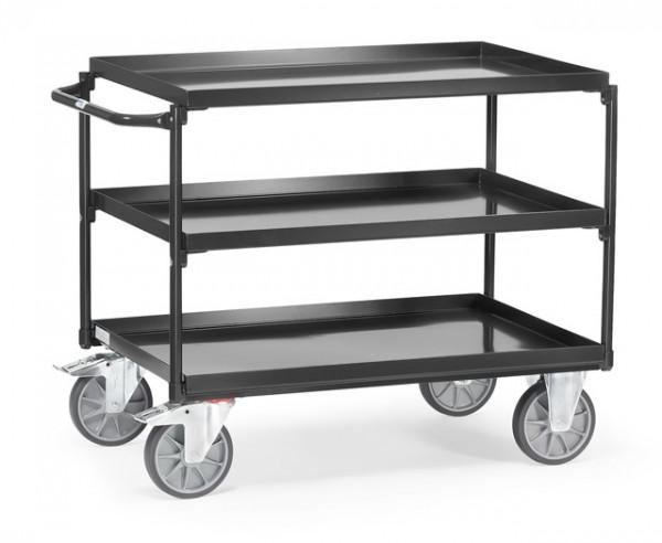 """Fetrta Tischwagen mit Wannen """"GREY EDITION"""" 400 kg, mit drai Böden aus Blechwannen, Griff waagerecht"""