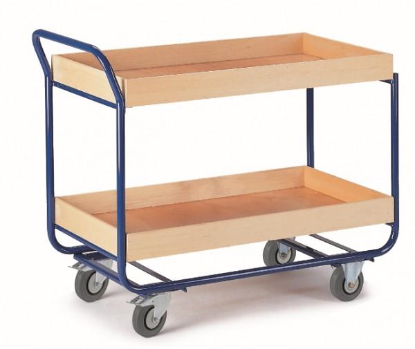 ROLLCART Tischwagen mit zwei Ladeflächen mit 80 mm Rand