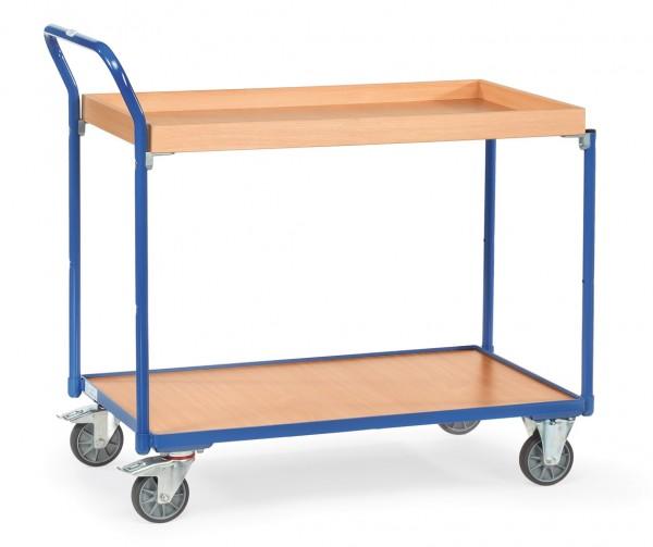 Fetra Leichter Tischwagen mit Holz-Plattform und Holzkasten, 300 kg