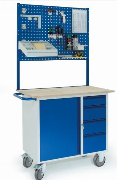ROLLCART 07-4361L2 Werkstattwagen mit vier Schubladen, Stahlschrank, zwei Lochplatten