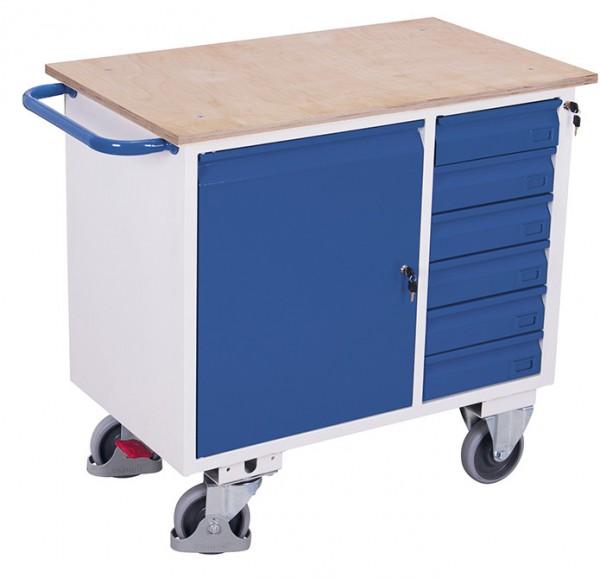 VARIOfit sw-985.001 Werkstattwagen mit sechs Schubladen, EasySTOP