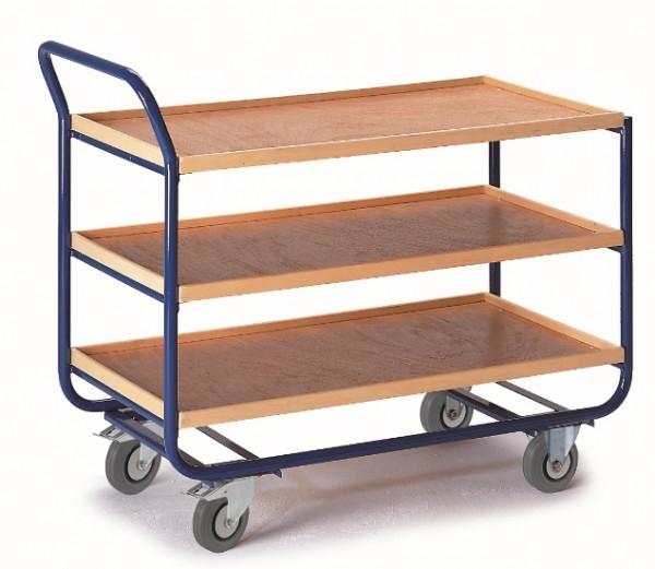 ROLLCART Tischwagen mit drei Ladeflächen mit 20 mm Rand