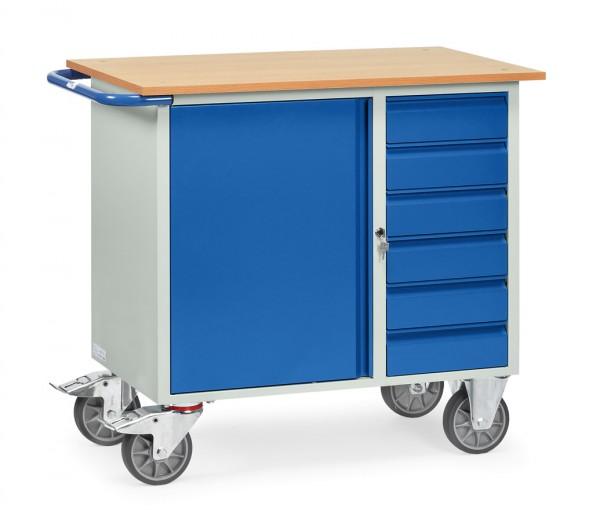 Fetra 2450 Stahlblech-Werkstattwagen, sechs Schubladen und Schrank, 400 kg