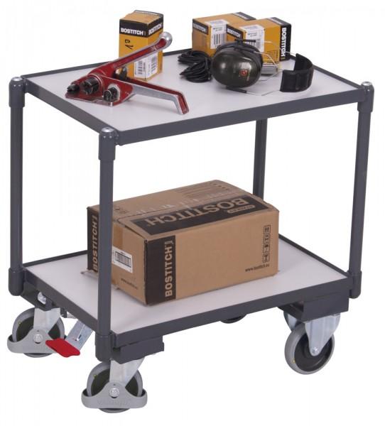VARIOfit sw-410.556 ESD Euro-System-Roller mit zwei Ladeflächen, Baukasten-System, EasySTOP