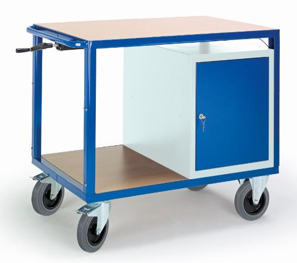 ROLLCART 07-4306/H Höhenverstellbarer Tischwagen mit Schrank