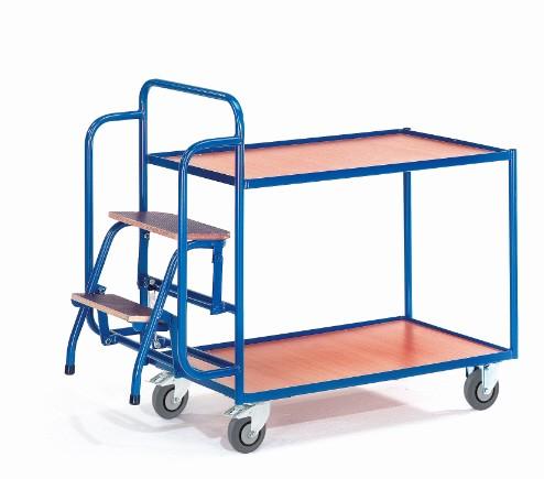 ROLLCART 08-7271 Tischwagen mit zwei Ladeflächen und zwei Trittstufen