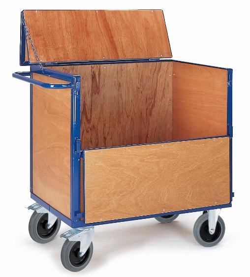 ROLLCART Holzkastenwagen mit Deckel, 600 kg Tragkraft