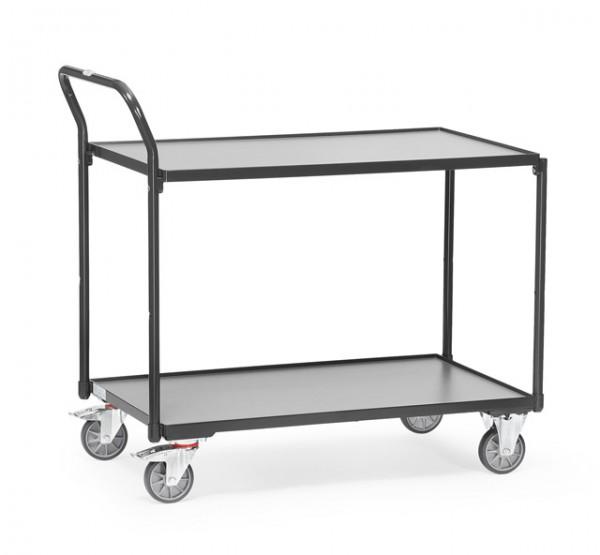 """Fetra Leichter Tischwagen """"GREY EDITION"""" 300 kg, mit zwei Böden aus Holz, Griff hochstehend"""