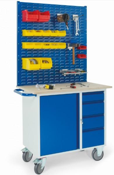 ROLLCART 07-4361S3 Werkstattwagen mit vier Schubladen, Stahlschrank, drei Schlitzplatten