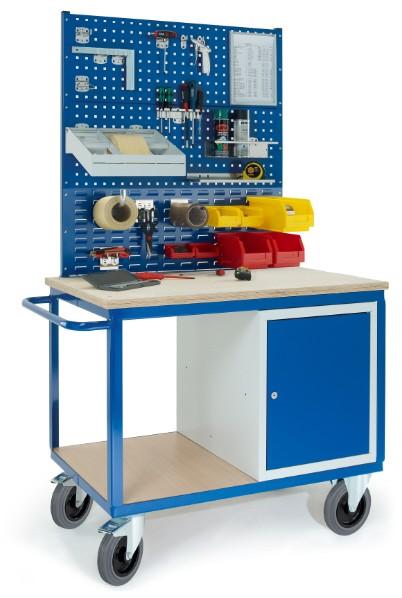 ROLLCART 07-4306L2S1 Werkstattwagen mit Stahlschrank, zwei Lochplatten, eine Schlitzplatte