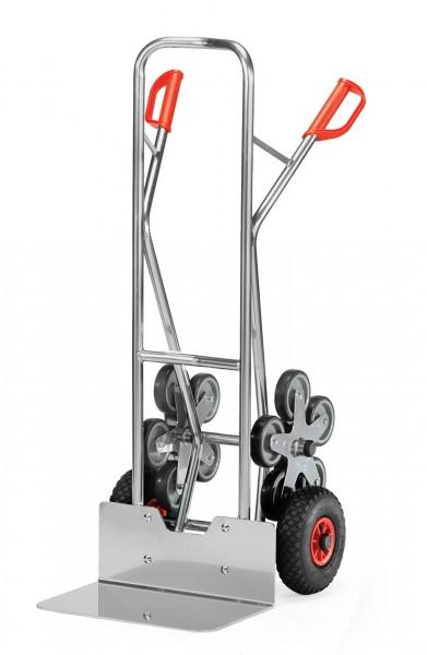 Fetra AK1328 Treppenkarren Alu 200 kg, fünfarmige Rad-Sterne, Luft,breite Schaufel
