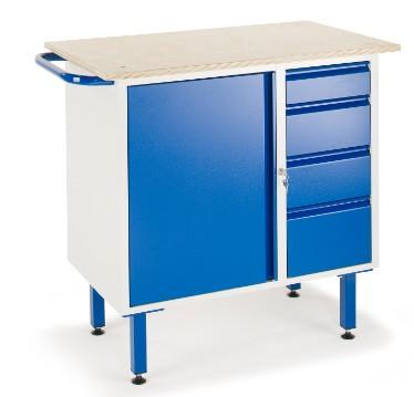ROLLCART 07-4371 Kleine Werkbank, vier Schubladen, ein Schrank