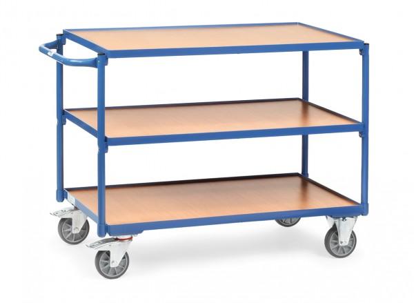 Fetra Leichter Tischwagen mit drei Holz-Plattformen, 300 kg