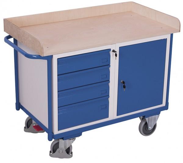 VARIOfit sw-600 613 Werkstattwagen mit Ladefläche, Schrank und Schubladen, EasySTOP