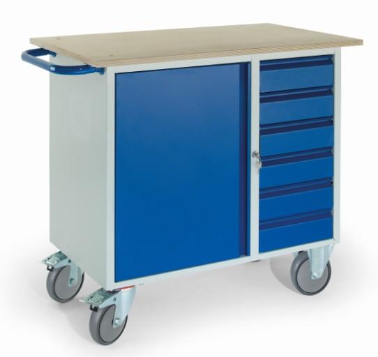 ROLLCART 07-4365 Werkstattwagen, sechs Schubladen, ein Stahlschrank