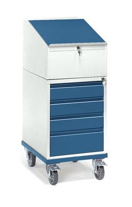 Fetra 2449 Rollpult mit vier Schubladen und Schreibpult-Aufsatz, 150 kg