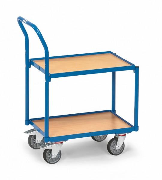 Fetra 135400 Etagen-Roller mit zwei Holzböden mit Rand, Rohrschiebebügel