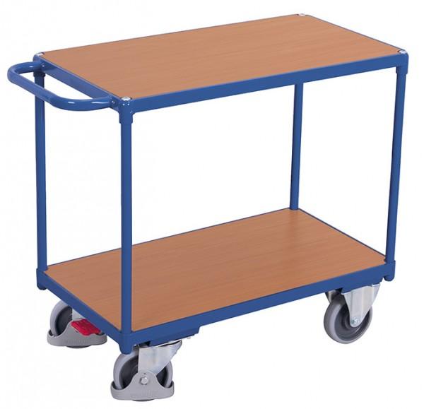 VARIOfit Schwerer Tischwagen mit zwei Ladeflächen, Baukasten-System, EasySTOP