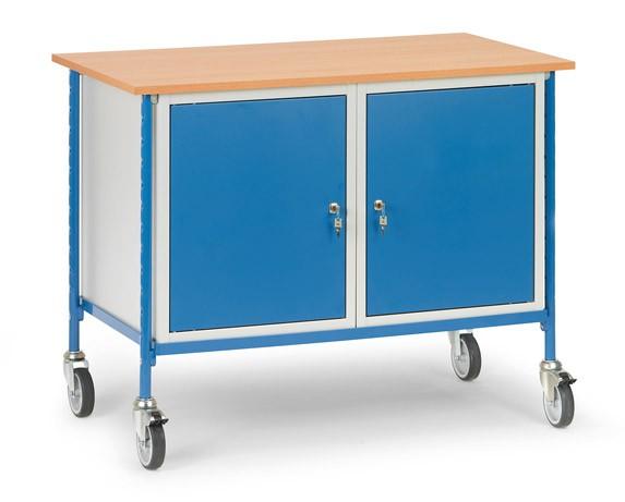 Fetra 5868 Rolltisch mit zwei Stahlschränken, 150 kg