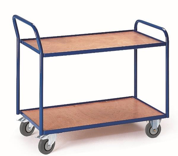 ROLLCART Tischwagen mit zwei Etagen, 300 kg Tragkraft, hoher Schiebegriff,