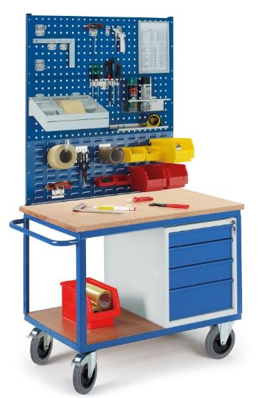 ROLLCART 07-4308L2S1 Werkstattwagen mit Schubladenschrank, zwei Lochplatten, eine Schlitzplatte